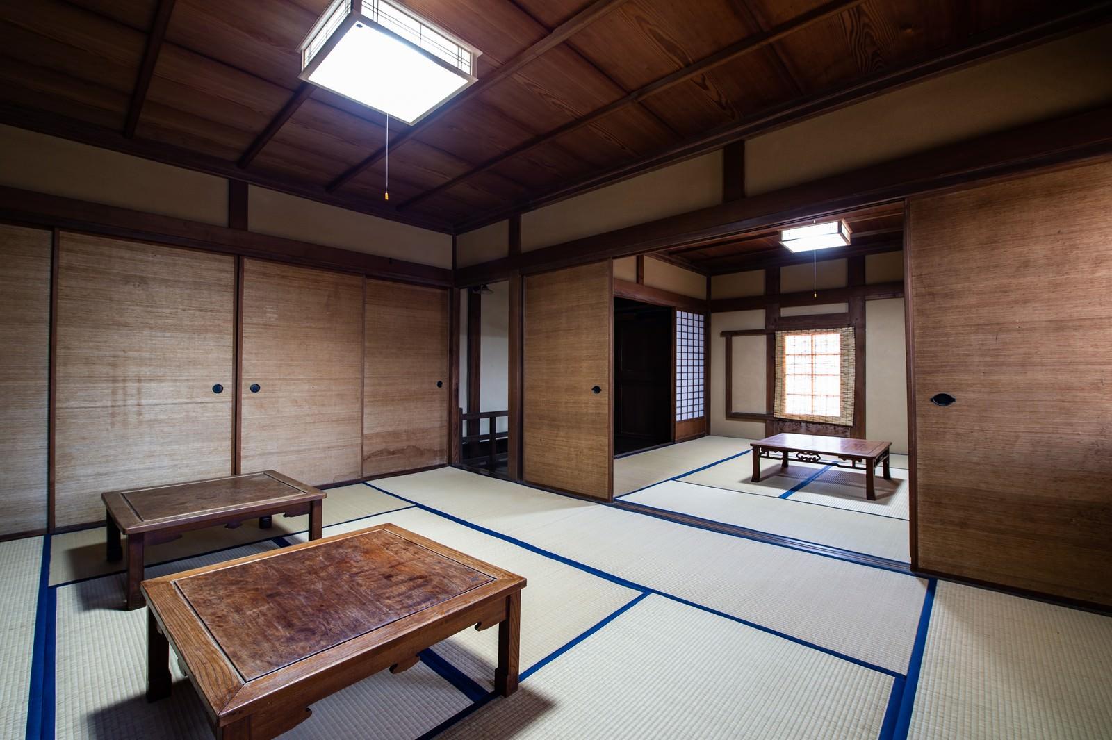 「畳縁で作られた畳の間(千葉県一宮町)」の写真