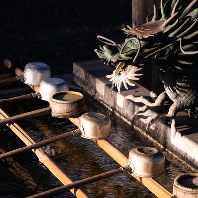 玉前神社にある手水舎の龍神様と柄杓(千葉県一宮町)の写真