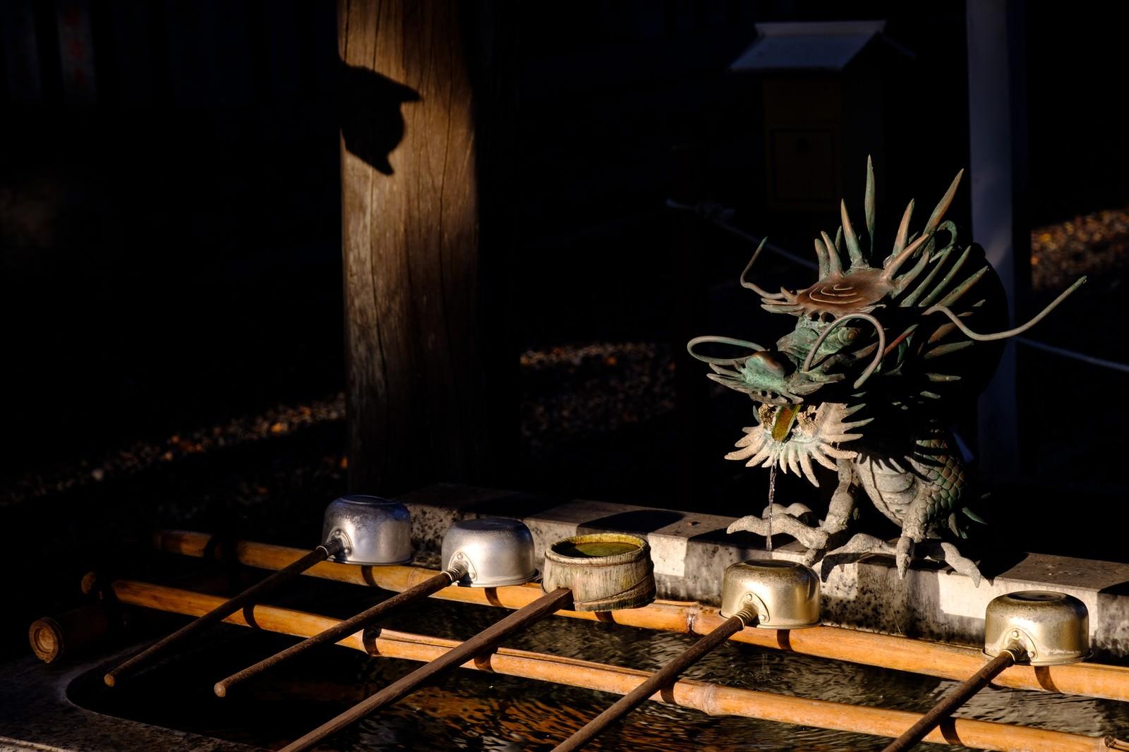 「手水舎の龍神様と柄杓(千葉県一宮町)」の写真
