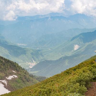 「乗鞍新登山道から見える平湯温泉」の写真素材