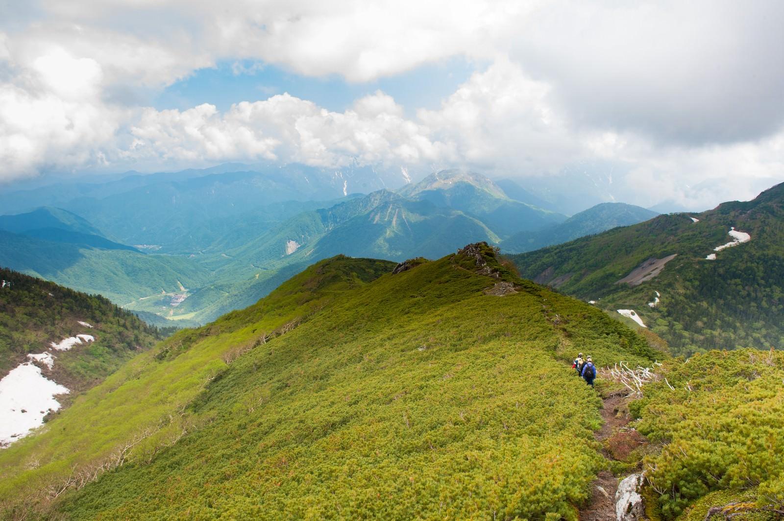 「焼岳越しに北アルプスが望める乗鞍新登山道焼岳越しに北アルプスが望める乗鞍新登山道」のフリー写真素材を拡大