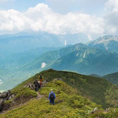 「目の前に焼岳、目下に平湯温泉の眺め(乗鞍新登山道)」の写真素材