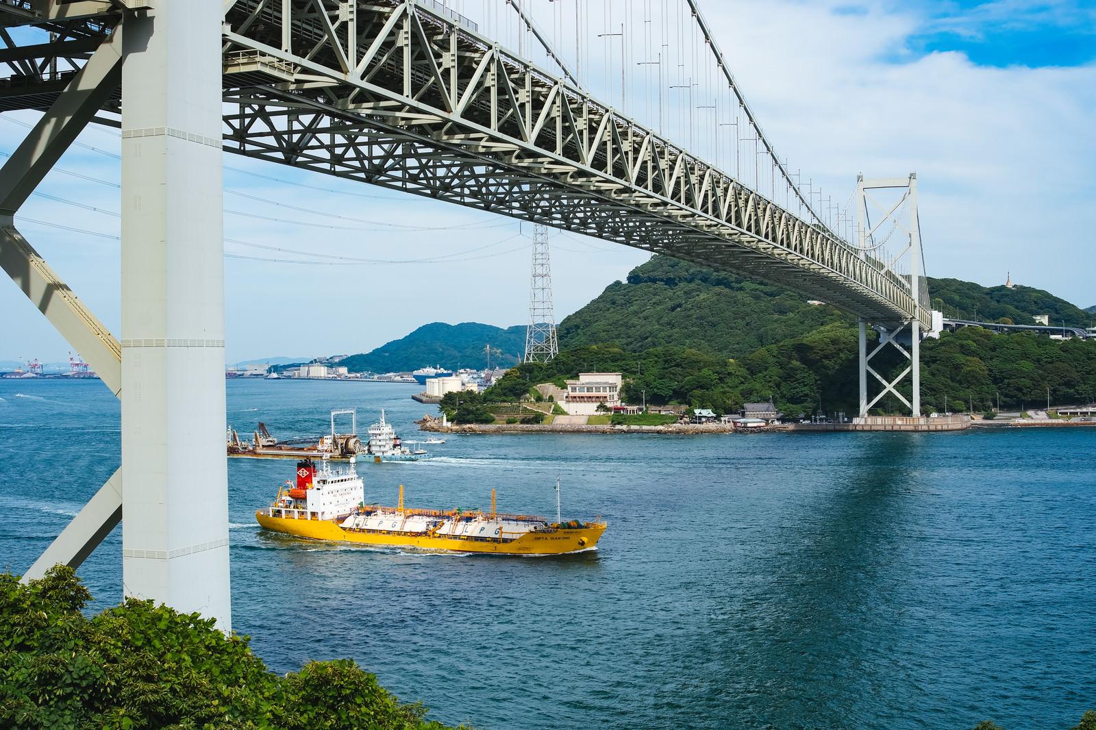 「関門海峡を行き交う船」の写真