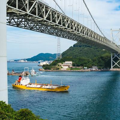 関門海峡を行き交う船の写真