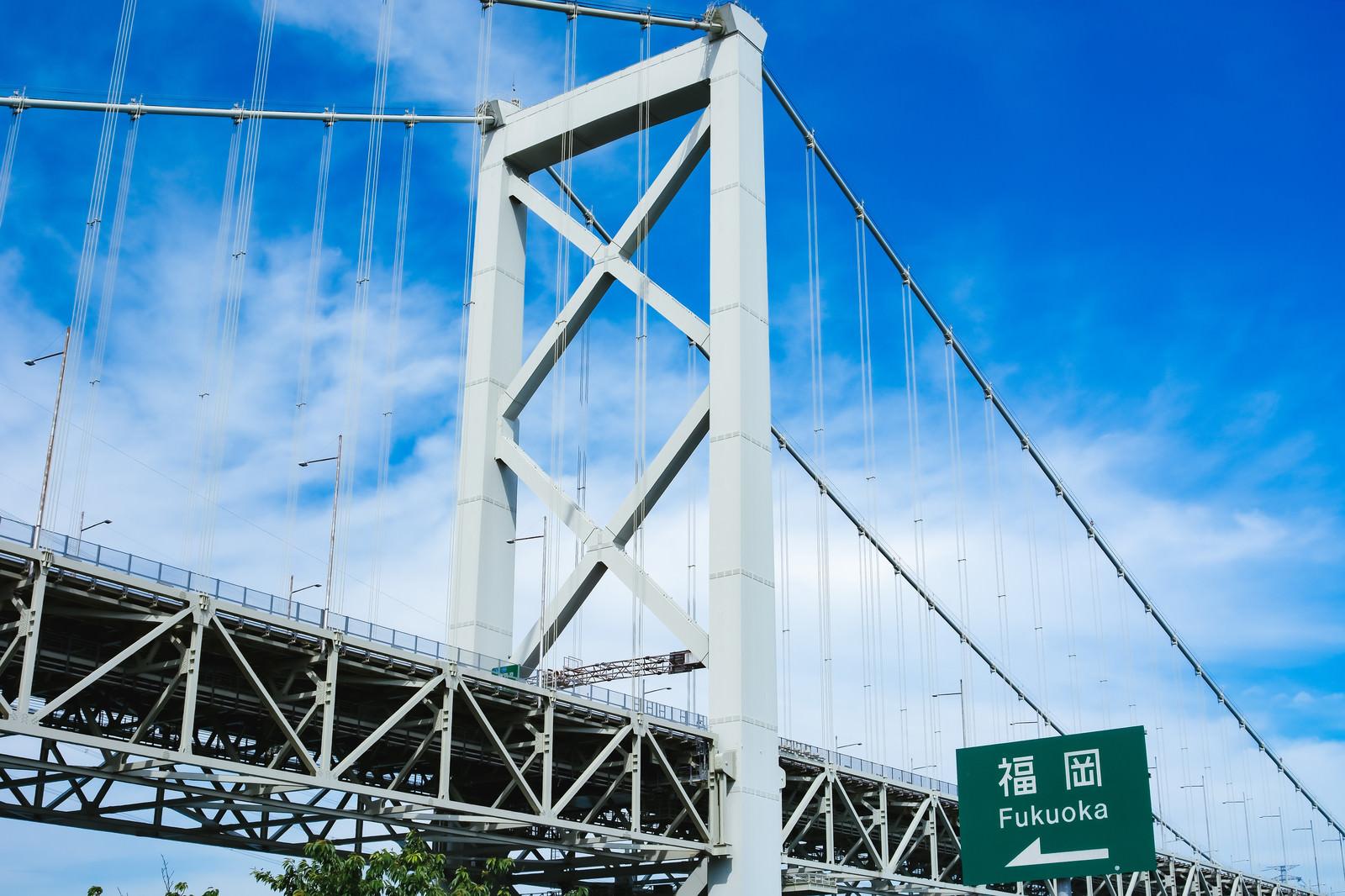 「関門橋と案内看板、福岡はあちらです」の写真