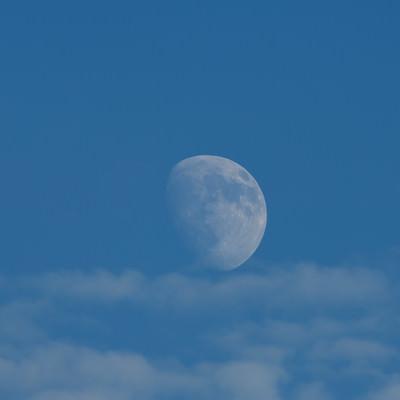 「空に浮かぶ十日夜の月」の写真素材