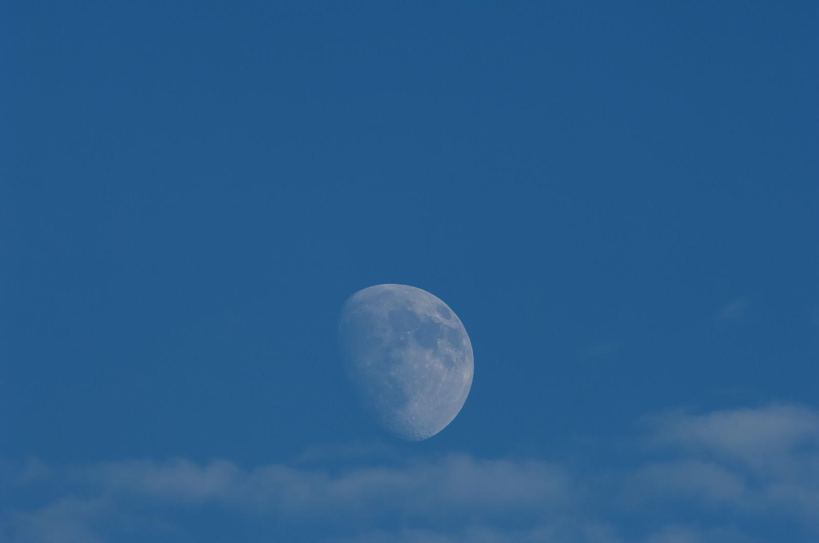 「青空に浮かぶ月」の写真
