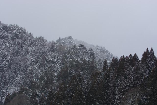 雪に霞む山間の写真