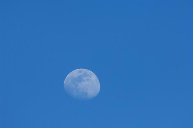 青空の中の白い月の写真