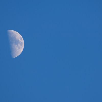「上弦の月」の写真素材