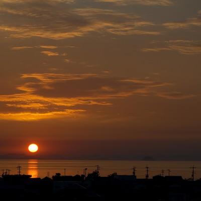 「燧灘に沈む夕陽」の写真素材