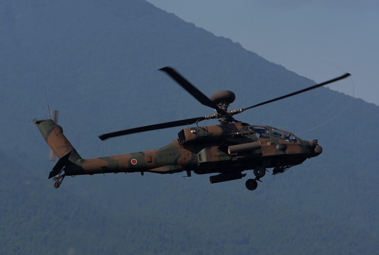 「ローターベイパーを出して現れたAH-64D(アパッチ)」の写真