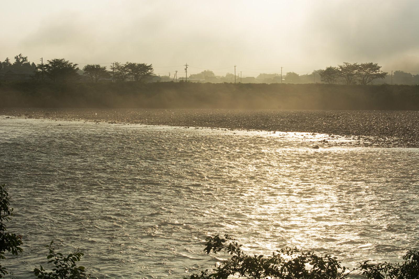 「朝靄と朝日にきらめく川面  」の写真