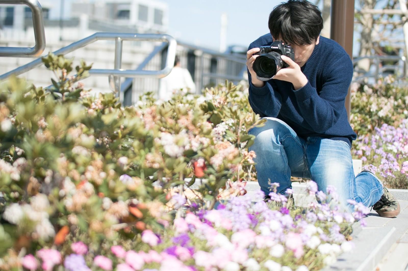 「花を無視して虫を撮影する芋虫フェチ」の写真[モデル:大川竜弥]