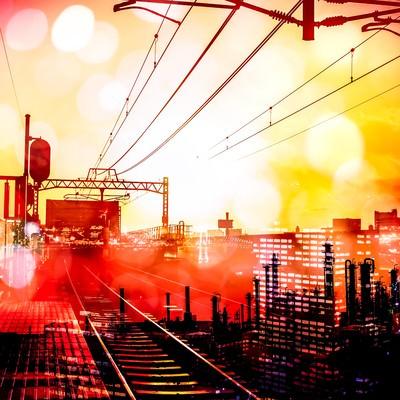 「都会をつなぐ線路(フォトモンタージュ)」の写真素材