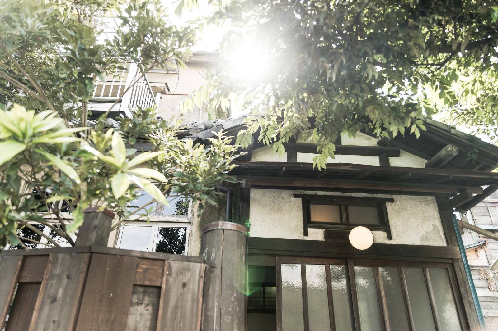 「古民家の玄関前」の写真