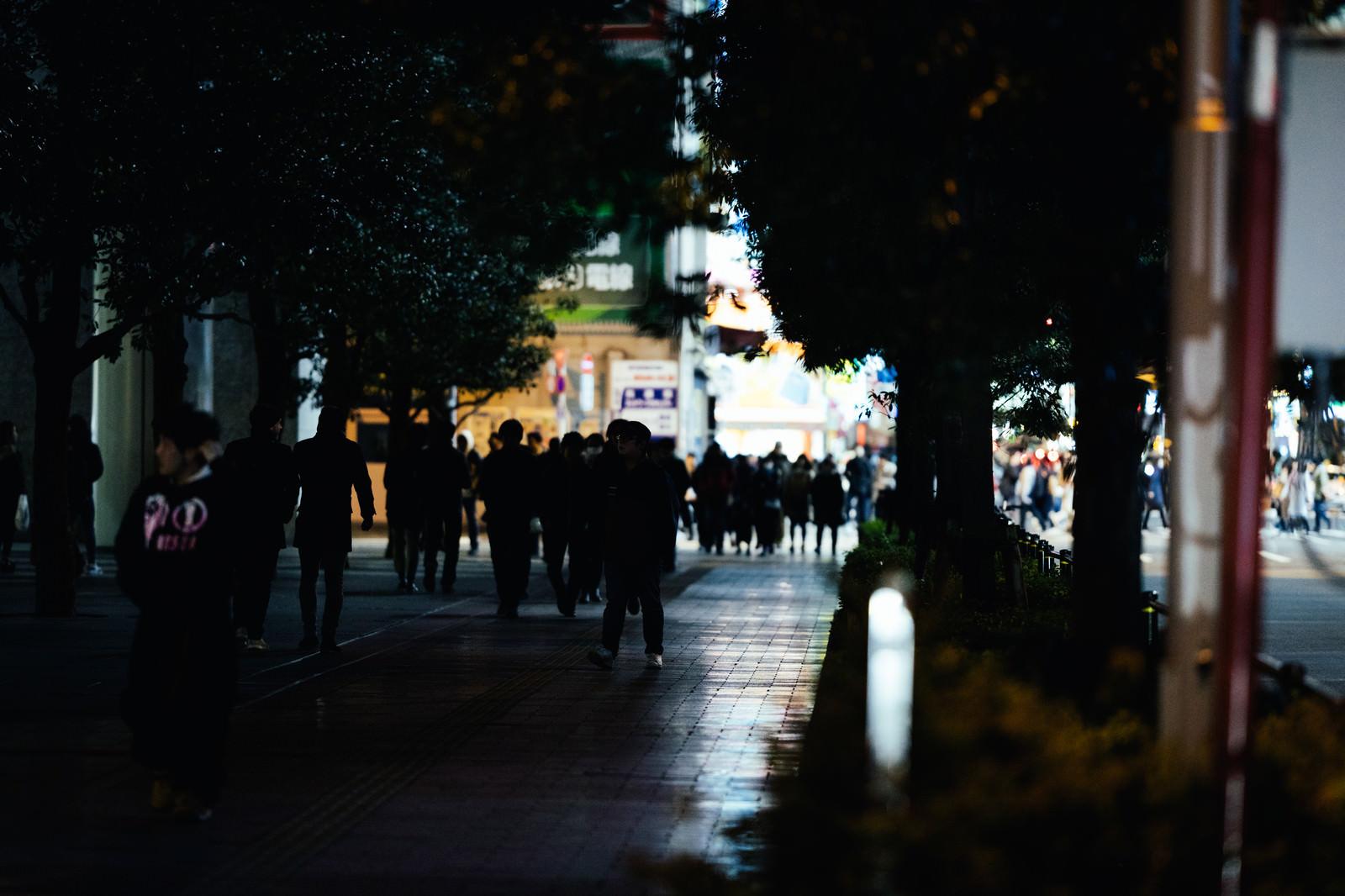 「帰宅時間に駅へ歩く通行人達」の写真