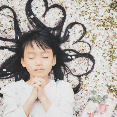 桜の花びらに横たわり祈る女の子の写真