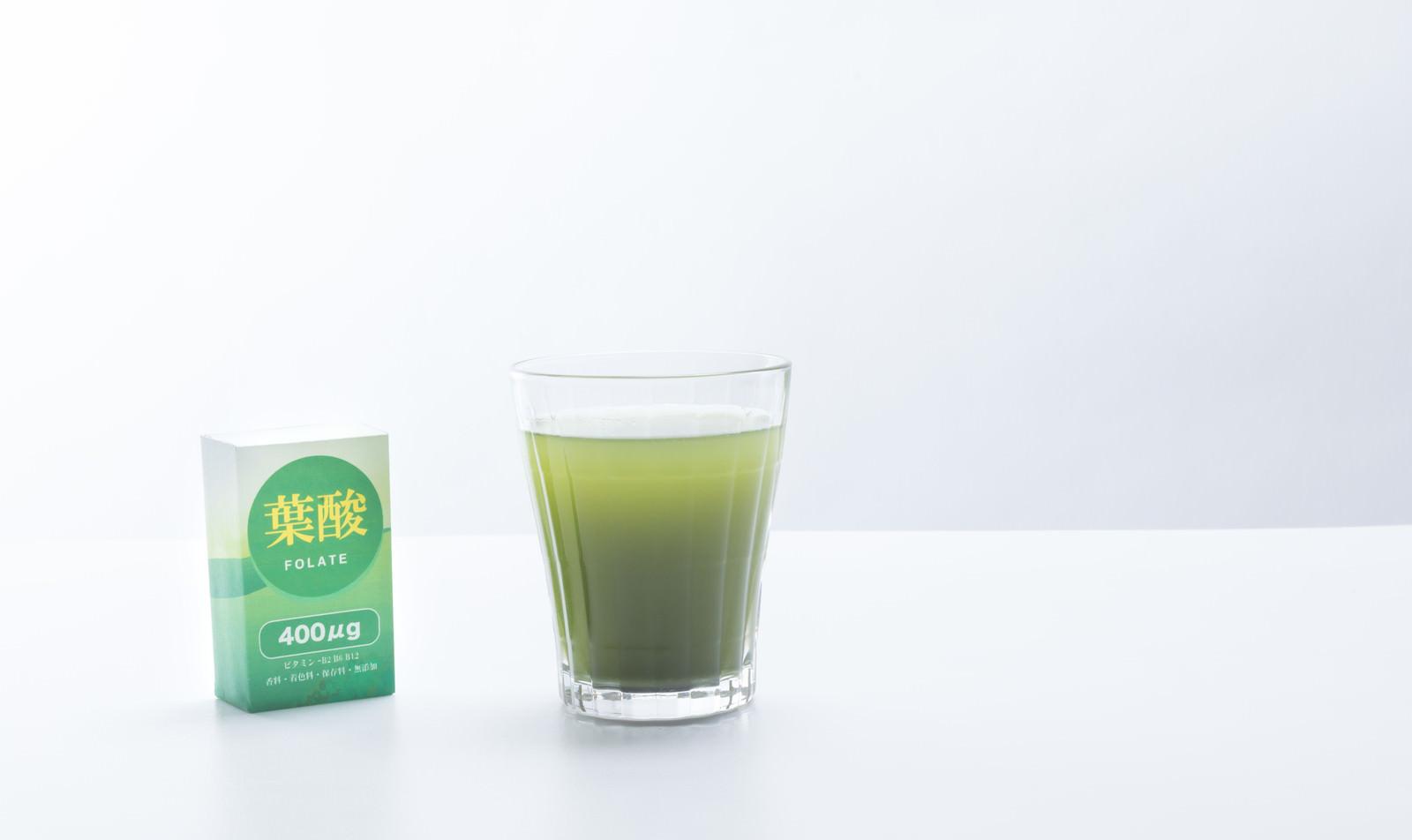 「青汁で葉酸を摂取」の写真