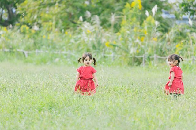 「広い空き地と双子の女の子」のフリー写真素材