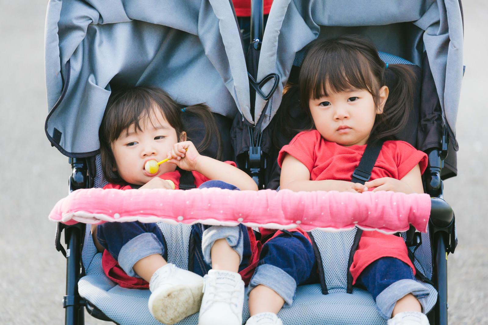 「ムス顔双子女児」の写真[モデル:あおみどり]