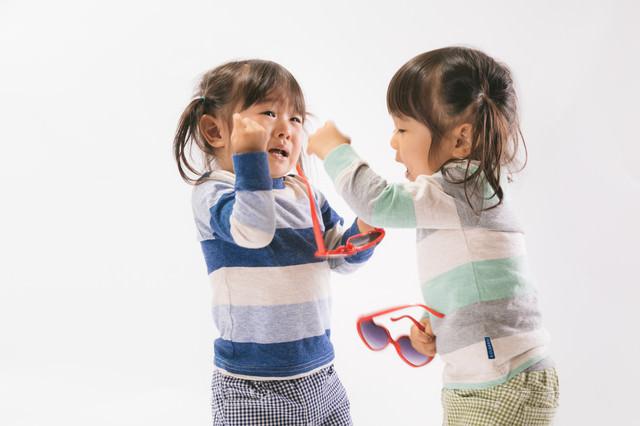 ボカスカ取り合いの喧嘩をする双子姉妹の写真