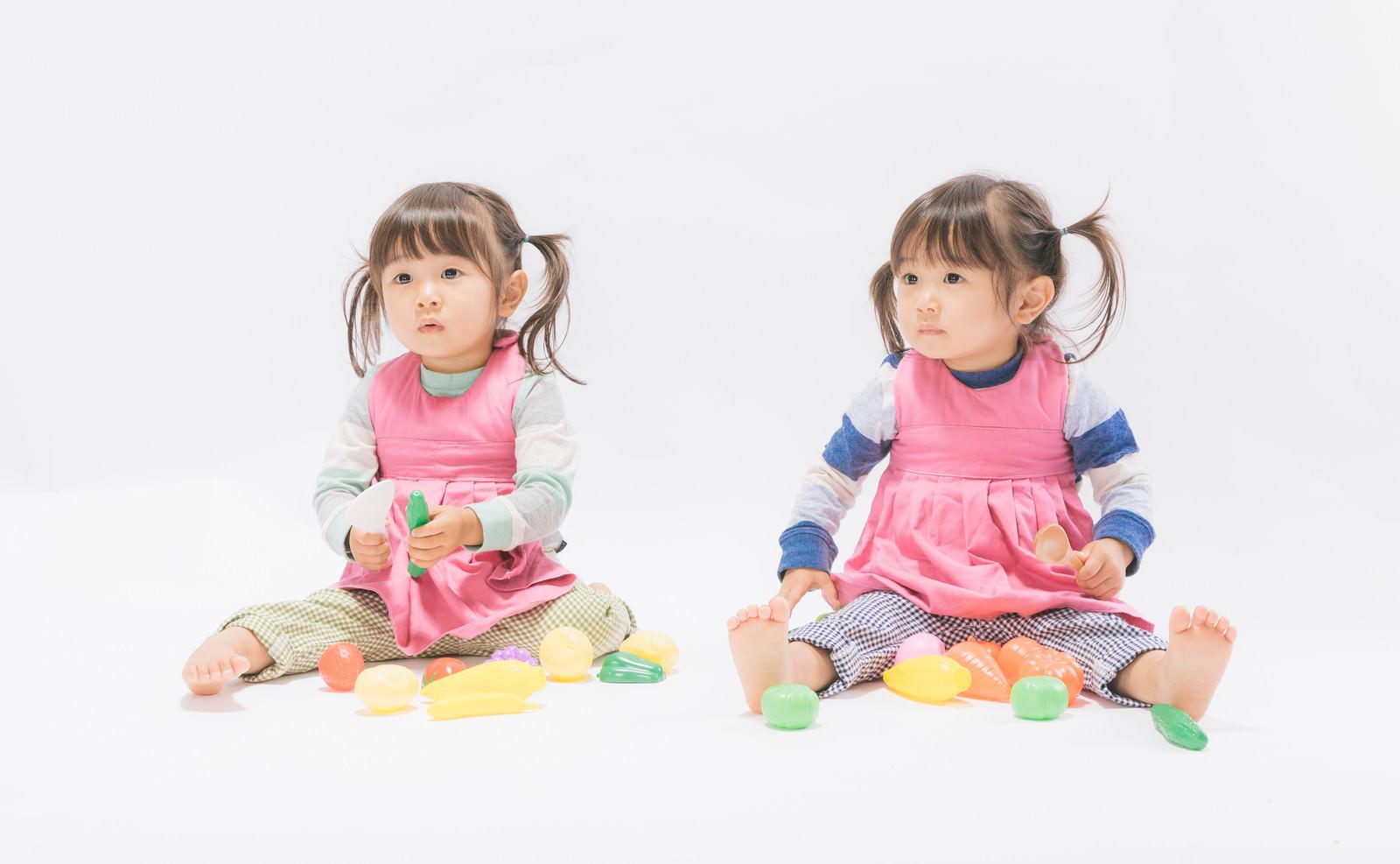 「おままごとする双子の子供」の写真[モデル:あおみどり]