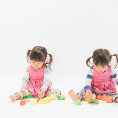「仲良くおままごとをする双子女児」の写真素材