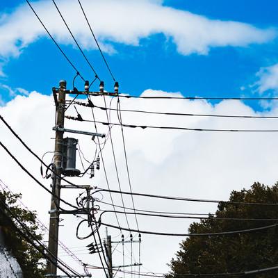 よく晴れた青空と電線と電柱の写真