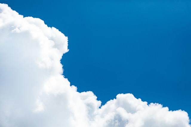 絵に書いたような青空雲の写真