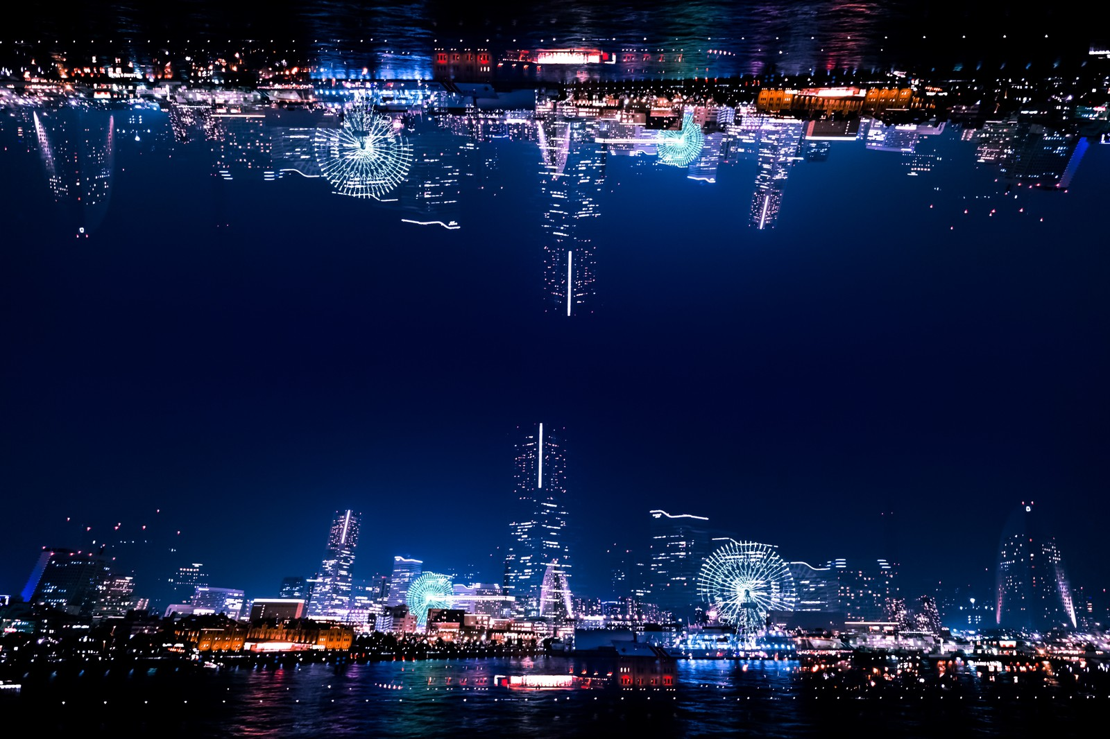 「みなとみらいの夜景(フォトモンタージュ)」の写真