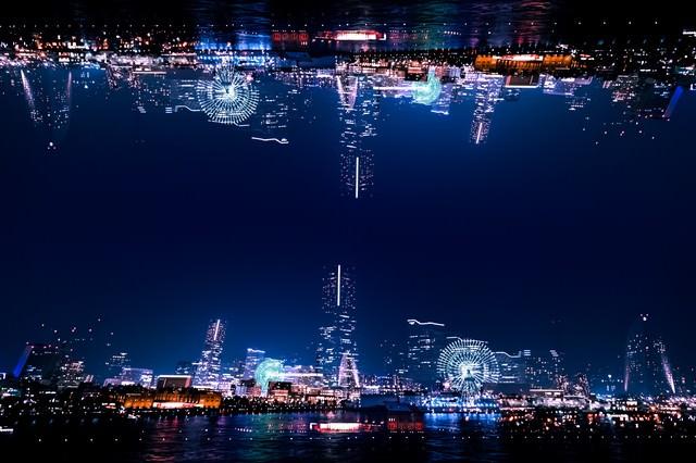 みなとみらいの夜景(フォトモンタージュ)の写真