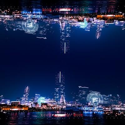 「みなとみらいの夜景(フォトモンタージュ)」の写真素材