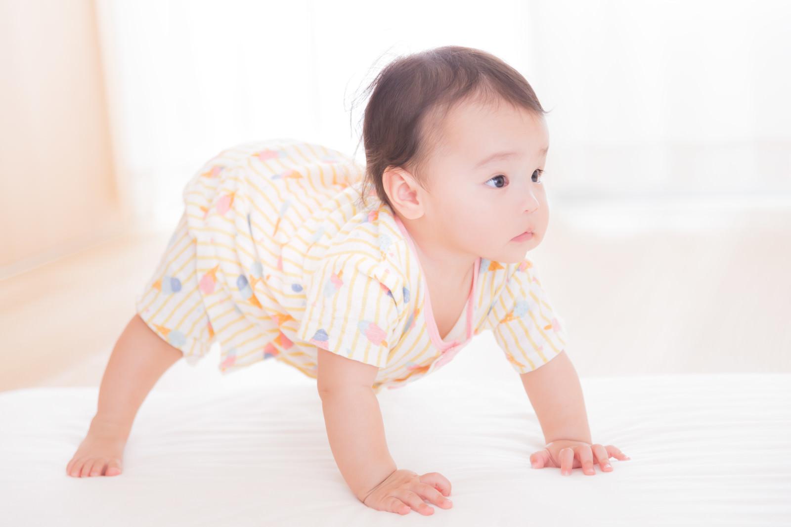 「自力でたっち目前の赤ちゃん」の写真[モデル:めぐな]