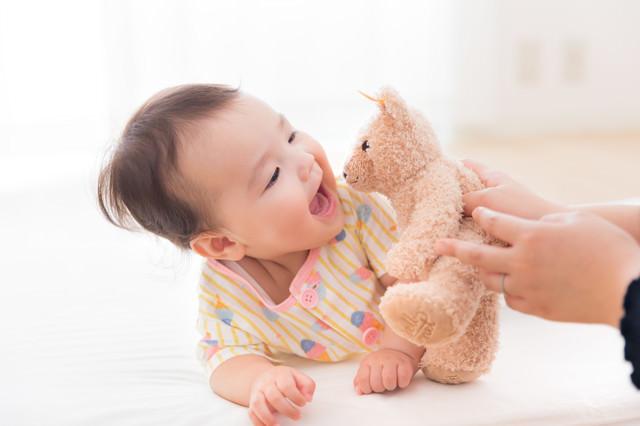 テディベアとキャッキャする赤ちゃんの写真