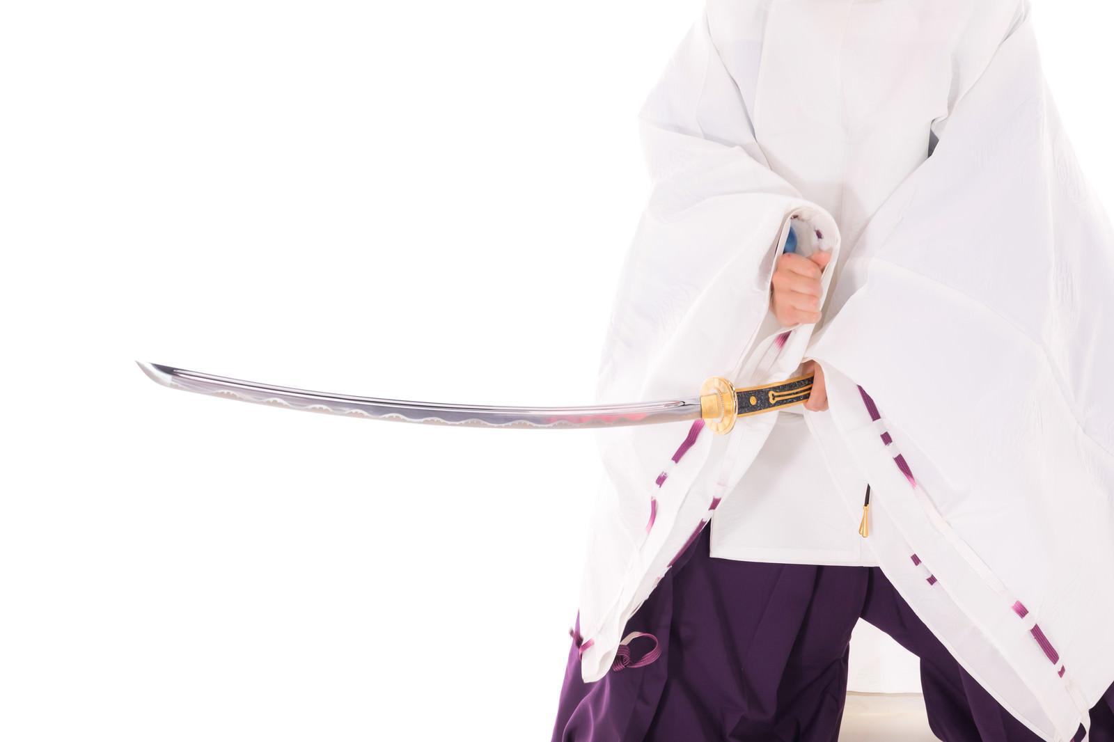 「刀についた血を拳ではらう陰陽師」の写真[モデル:まーこ]