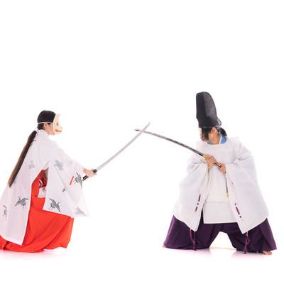 狐巫女と一騎打ちで戦う陰陽師の写真
