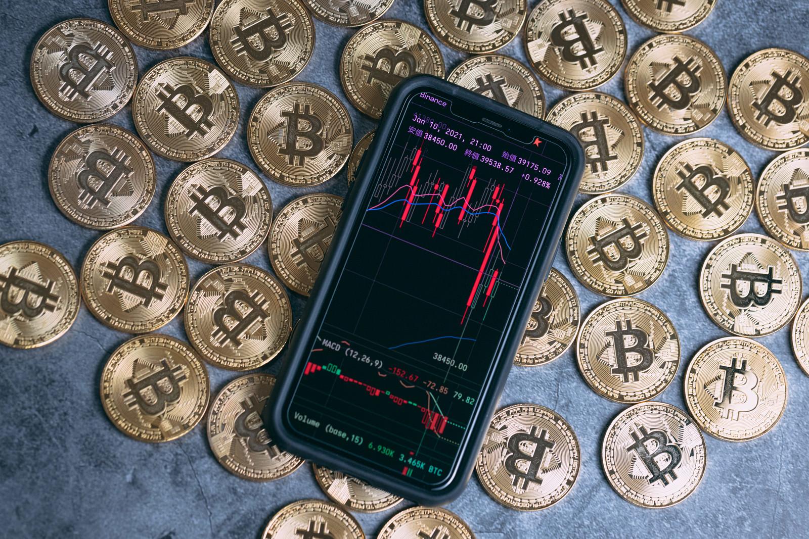 「ビットコインと大暴落チャート」の写真
