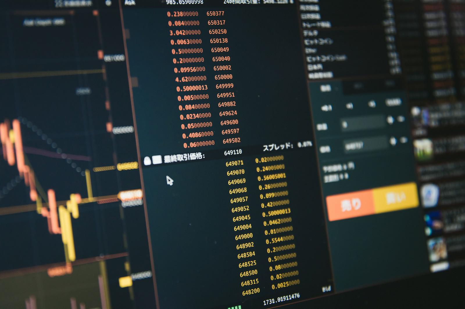「ビットコインの売り板と買い板」の写真