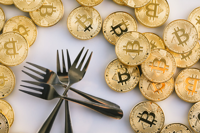 ビットコインと複数のフォークの写真
