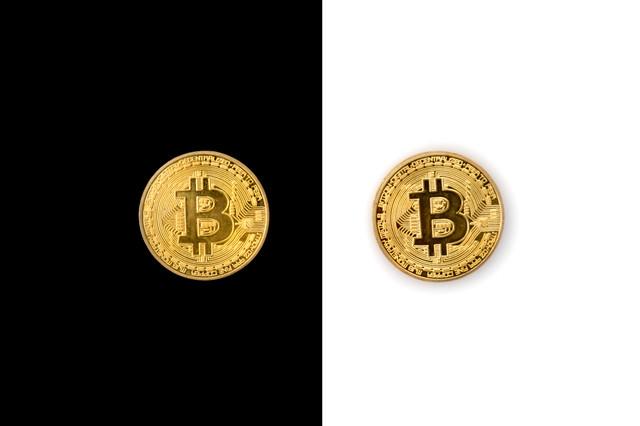白と黒に分裂したビットコイン(仮想通貨)の写真
