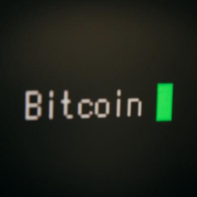 モニターに表示された「Bitcoin」の写真