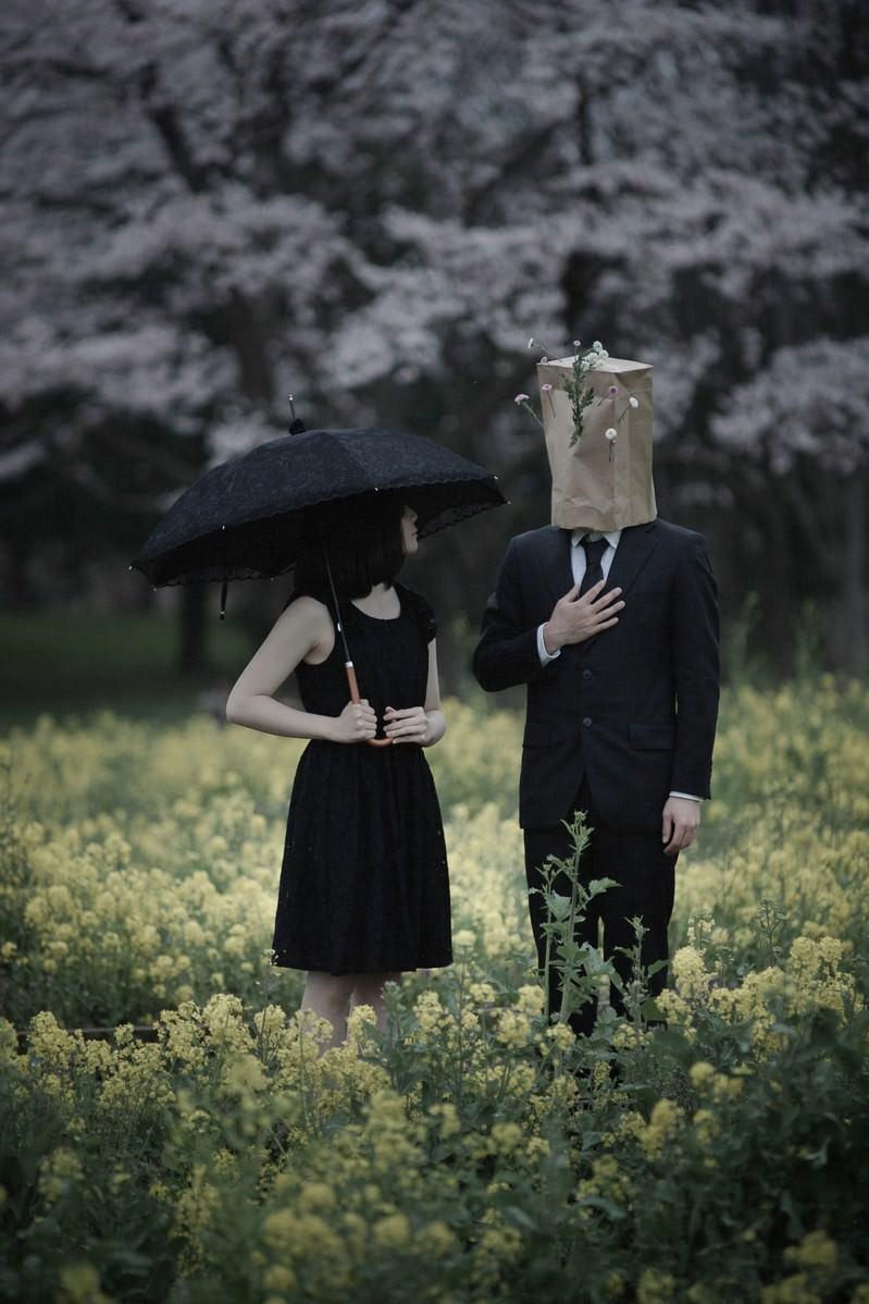 「菜の花畑で再開」の写真