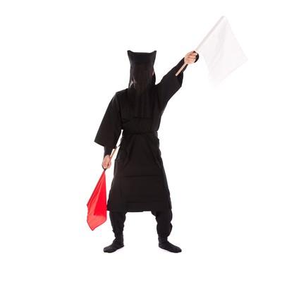 「黒子の手旗信号13」の写真素材