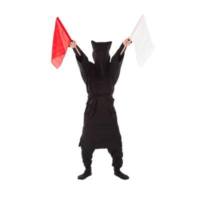 「黒子の手旗信号12」の写真素材