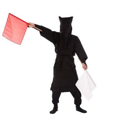 「黒子の手旗信号14」の写真素材