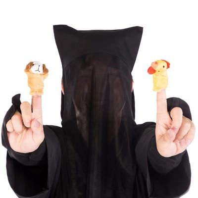 「酷いクオリティの酉と戌の指人形」の写真素材