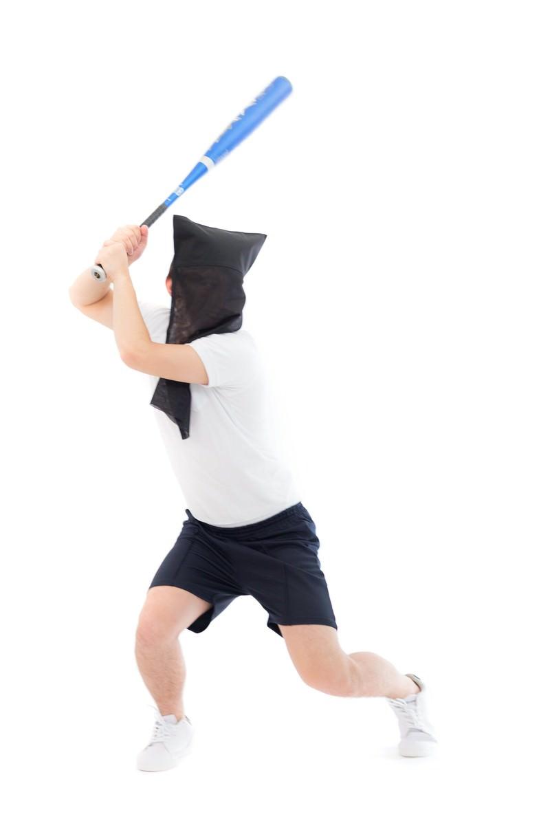 「バッター黒子バッター黒子」[モデル:鈴木秀]のフリー写真素材を拡大