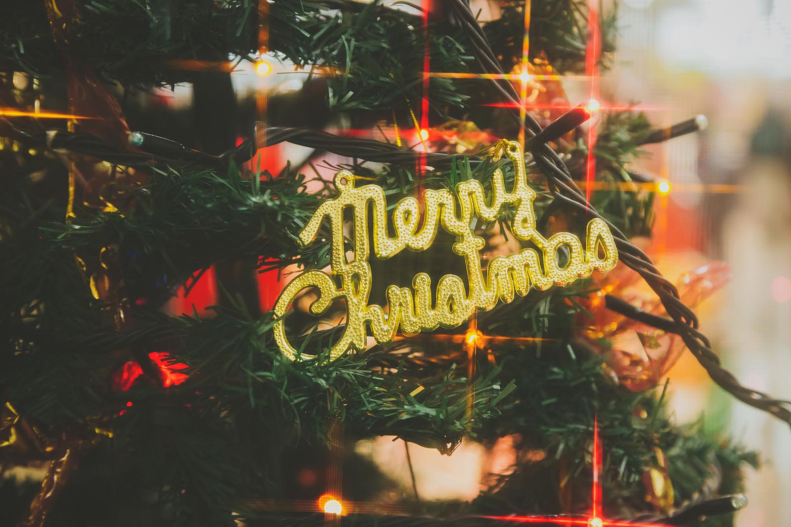 「Merry Christmasの飾りとツリー」の写真