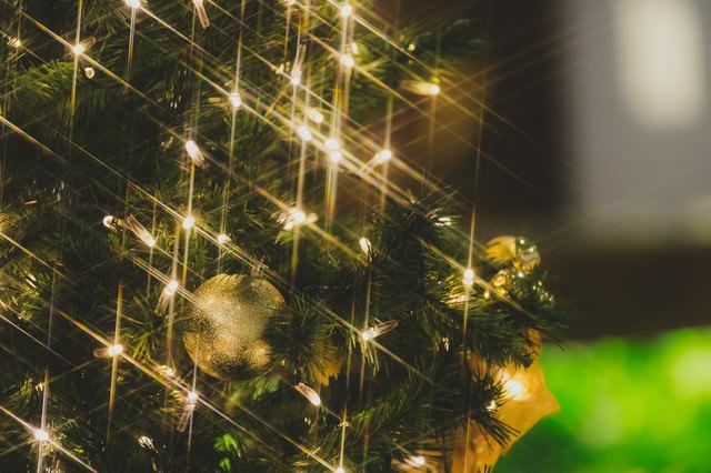 「クリスマスツリーの電飾キラキラ」のフリー写真素材